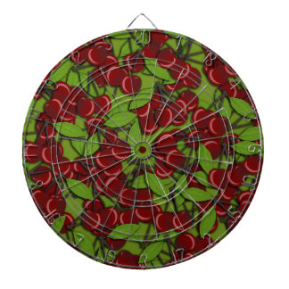 Jammy Cherry pattern Dartboard With Darts