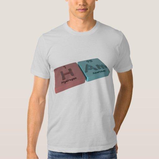 Jamón como el hidrógeno de H y americio de la Camisas