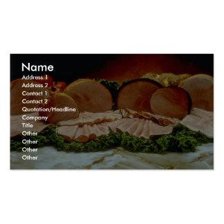 Jamón, de la cadera de un cerdo o de un verraco plantillas de tarjetas de visita