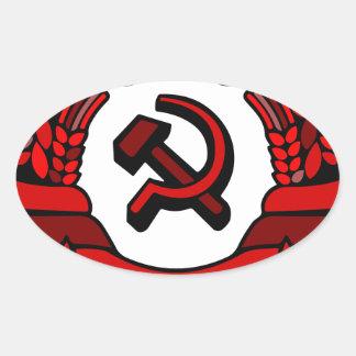 Jamón del escudo de armas del Partido Comunista de Pegatina Ovalada