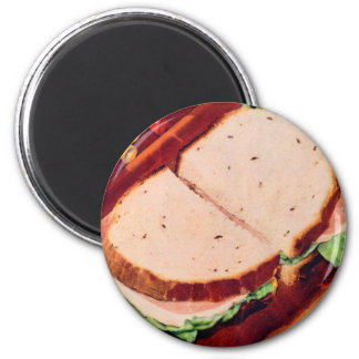 Jamón retro de la comida del kitsch del vintage en imán redondo 5 cm