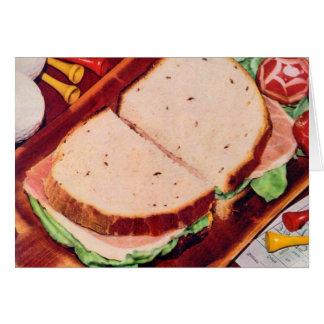 Jamón retro de la comida del kitsch del vintage en tarjeta de felicitación