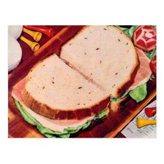 Jamón retro de la comida del kitsch del vintage en tarjeta postal