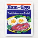 Jamón y huevos del vintage alfombrilla de ratón