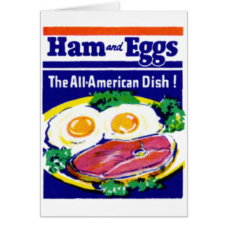Jamón y huevos del vintage felicitacion