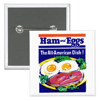 Jamón y huevos del vintage pin cuadrada 5 cm
