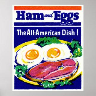 Jamón y huevos del vintage póster