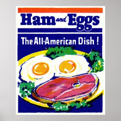 Jamón y huevos del vintage posters