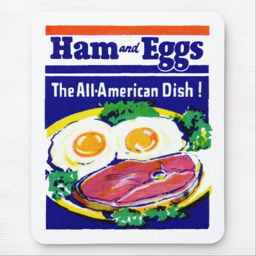 Jamón y huevos del vintage tapetes de ratón