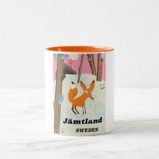 Jämtland Sweden vintage travel poster Two-Tone Coffee Mug