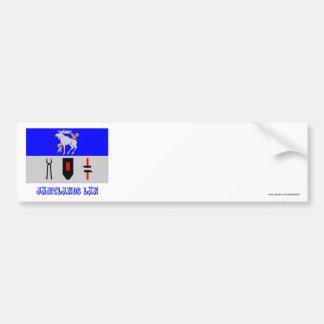 Jämtlands län flag with name bumper sticker