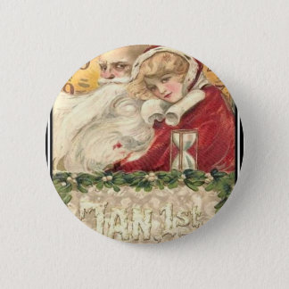 Jan 1st Old Father Time New Year Pinback Button