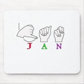JAN ASL FINGERSPELLED NAME SIGN FEMALE MOUSE PAD