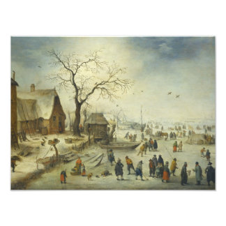 Jan Brueghel el más joven - aldeanos en el hielo Cojinete