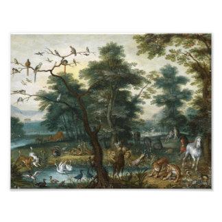Jan Brueghel el más joven - paisaje del paraíso Cojinete