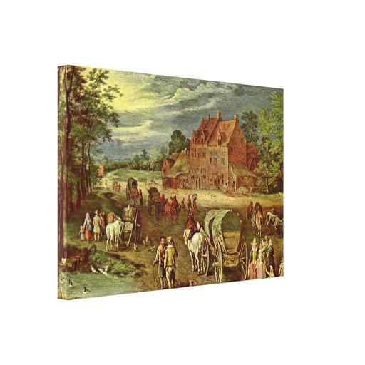 Jan Brueghel la anciano - Dorfstrasse Impresiones En Lona