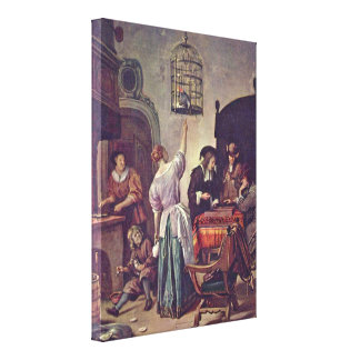 Jan Havickszoon Steen - The parrot cage Canvas Prints