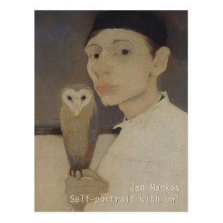 Jan Mankes Self-portrait with owl CC0687 Postcard
