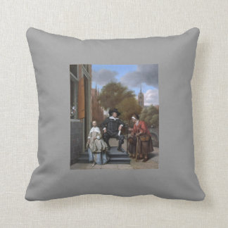 Jan Steen- Burgher of Delft and his Daughter Throw Pillows