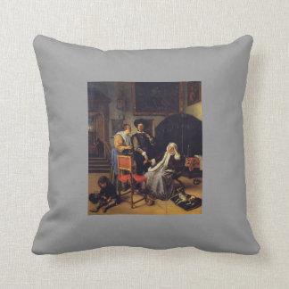 Jan Steen- Doctor s Visit Throw Pillow