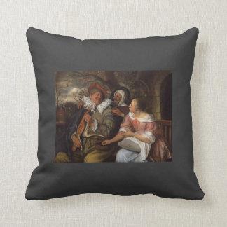 Jan Steen- Merry Threesom Throw Pillow