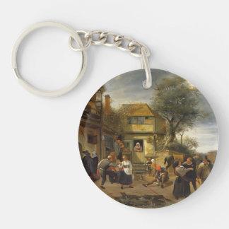 Jan Steen- Peasants before an Inn Single-Sided Round Acrylic Keychain