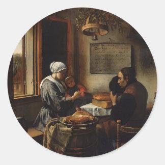 Jan Steen- Prayer before Meal Classic Round Sticker