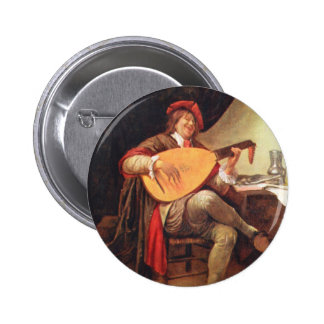 Jan Steen. Self-portrait playing the lute Pinback Button