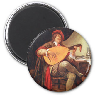 Jan Steen. Self-portrait playing the lute Magnet