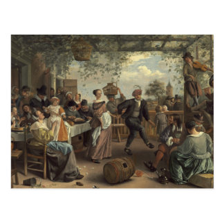 jan steen the dancing couple post card