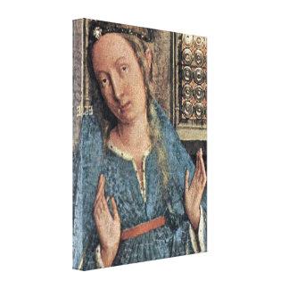 Jan van Eyck - Annunciation Detail: Maria Gallery Wrapped Canvas