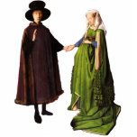 "Jan Van Eyck Arnolfini Wedding Portrait Sculpture<br><div class=""desc"">A stand-up cutout of Jan Van Eyck&#39;s famous Arnolfini Wedding Portrait.</div>"