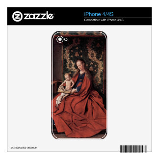Jan Van Eyck - Madonna and child reading Skin For iPhone 4