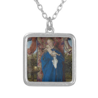Jan van Eyck- Madonna at the Fountain Square Pendant Necklace