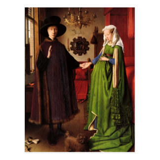 Jan van Eyck Protrait de Giovannit Arnofini y espo Postal
