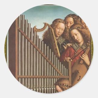 Jan van Eyck- The Ghent Altar (detail) Round Sticker