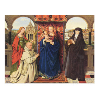 Jan Van Eyck - The Madonna with the Carthusians Postcard