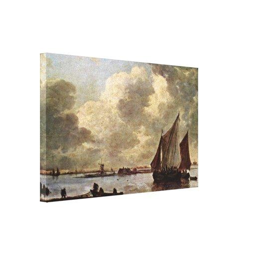 Jan van Goyen - vista del Haarlemmermeer Lona Estirada Galerias