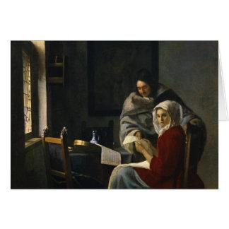 Jan Vermeer - Girl Interrupted at Her Music Card