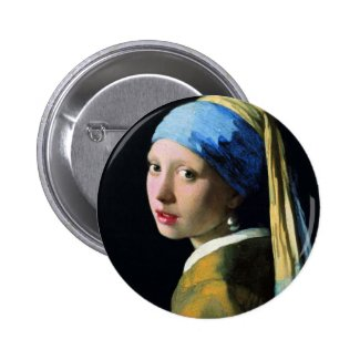 Jan Vermeer Girl With A Pearl Earring Baroque Art Pinback Buttons