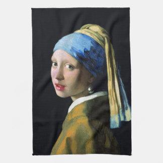 Jan Vermeer Girl With A Pearl Earring Baroque Art Hand Towels