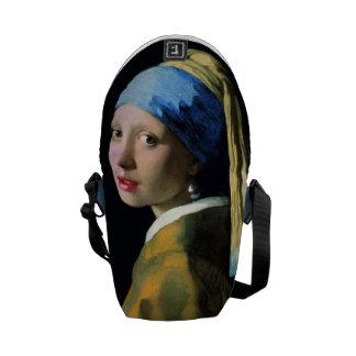 Jan Vermeer Girl With A Pearl Earring Baroque Art Messenger Bag