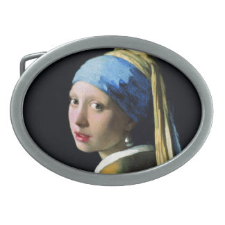 Jan Vermeer Girl With A Pearl Earring Baroque Art Oval Belt Buckle