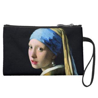 Jan Vermeer Girl With A Pearl Earring Baroque Art Suede Wristlet Wallet