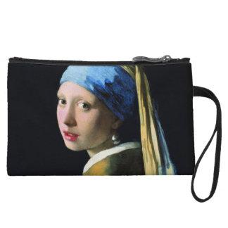 Jan Vermeer Girl With A Pearl Earring Baroque Art Wristlet