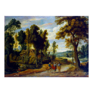 Jan Wildens Landscape with Christ and his Disciple Poster
