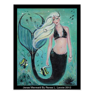 Janae Fantasy Mermaid art  ocean poster By Renee