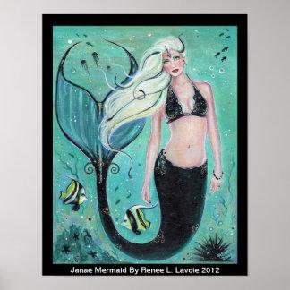 Janae Fantasy Mermaid art  ocean poster By Renee