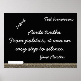 Jane Austen Blackboard Quote - art Print