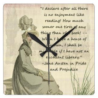 Jane Austen Book Lovers Square Wall Clocks